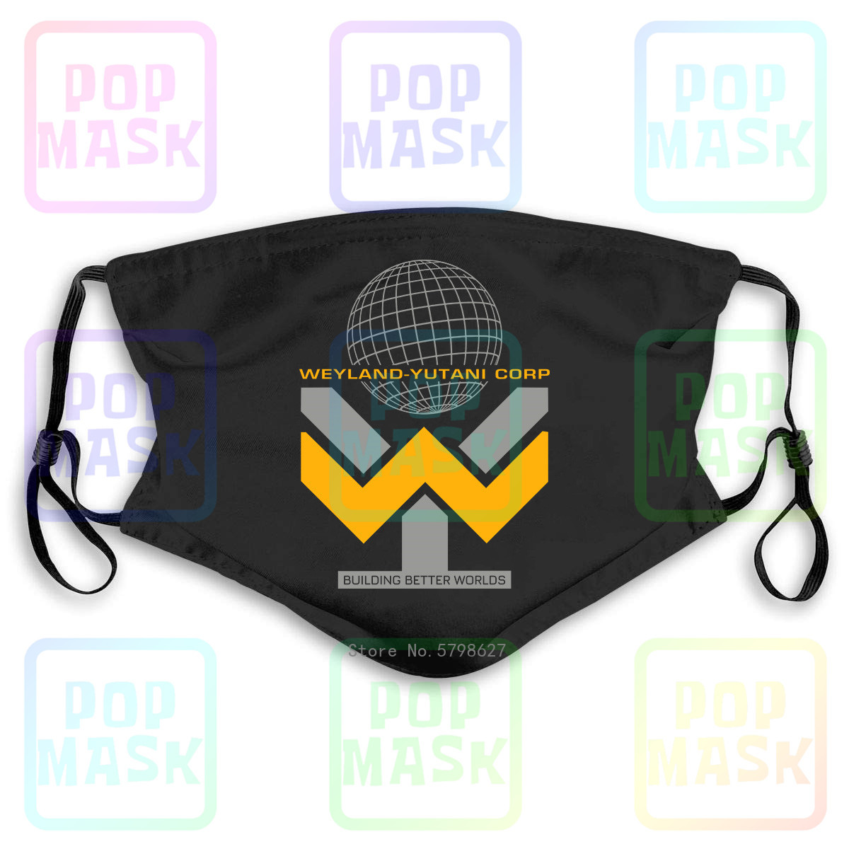 Alien Weyland Yutani Corp Aliens Sci Fi Unofficialladies Washable Reusable Mask With 2Pcs PM2.5 Filters 5 Layers