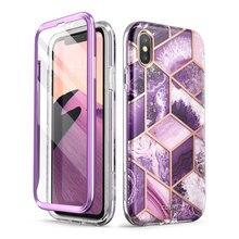 Per iPhone X Xs Caso 5.8 pollici I BLASON Cosmo Serie Full Body Shinning di Scintillio Marmo Cassa Del Respingente CON Costruito in Protezione Dello Schermo