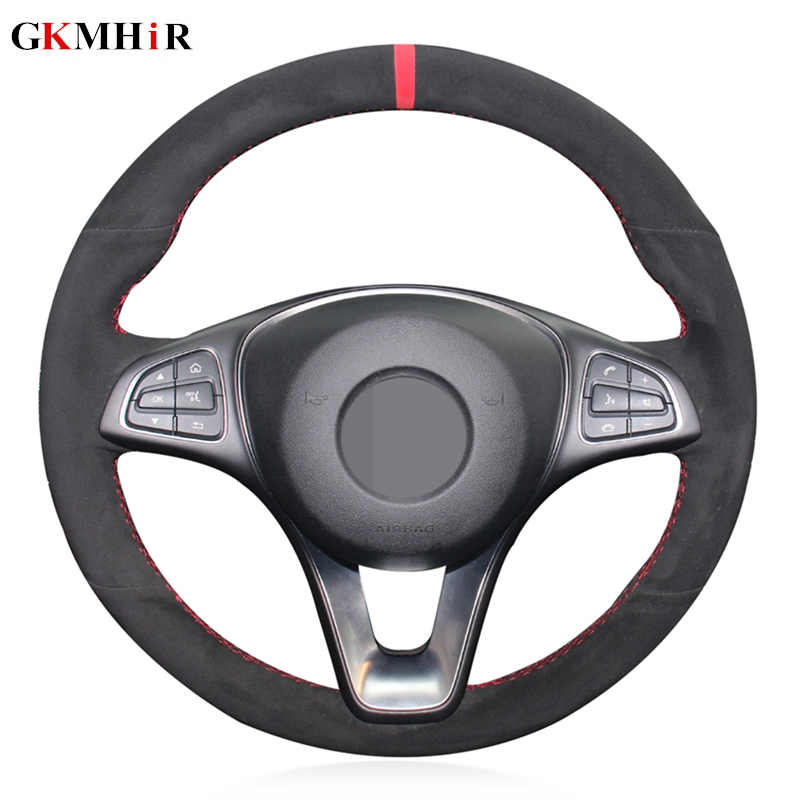 Black Suede Red Marker DIY Hand-stitched Car Steering Wheel Cover for <font><b>Mercedes</b></font> Benz <font><b>C300</b></font> C260 C200 C180 B200 image