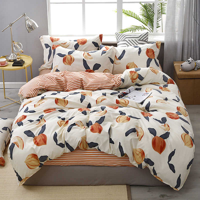 3/4pcs Twin Full Queen King Size Bedding Set luxury Fruit Flower Family bed Sheet Duvet Cover Pillowcase Single Double bed set