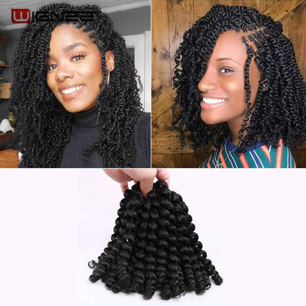 "Wignee 8"" 20 Strands Synthetic Kinky Twist Braiding Hair Extension For Black Women Wand Curl Crochet Purple/Red/Grey/Brown Hair"