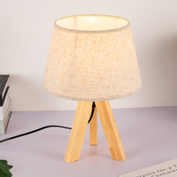 Northern European Style Fabric Lamp Japanese Style Original Wood Bedroom Living Room Library Desk Solid Wood Tripod Fabric LED D