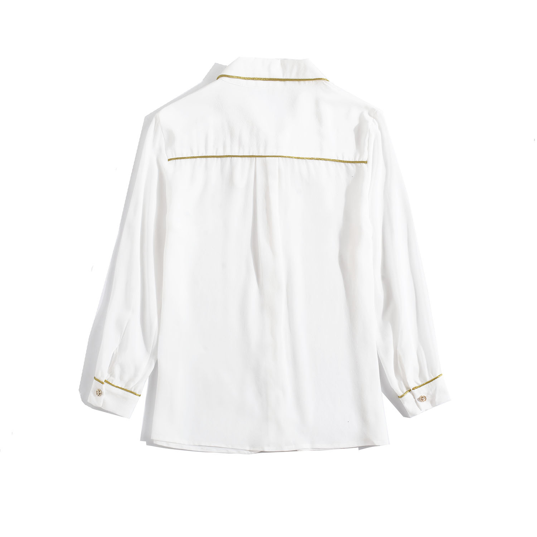 Chemise en soie femmes 2019 automne dames mode couleur unie col rabattu simple boutonnage poignet longueur manches chemise blanche S XXL - 5
