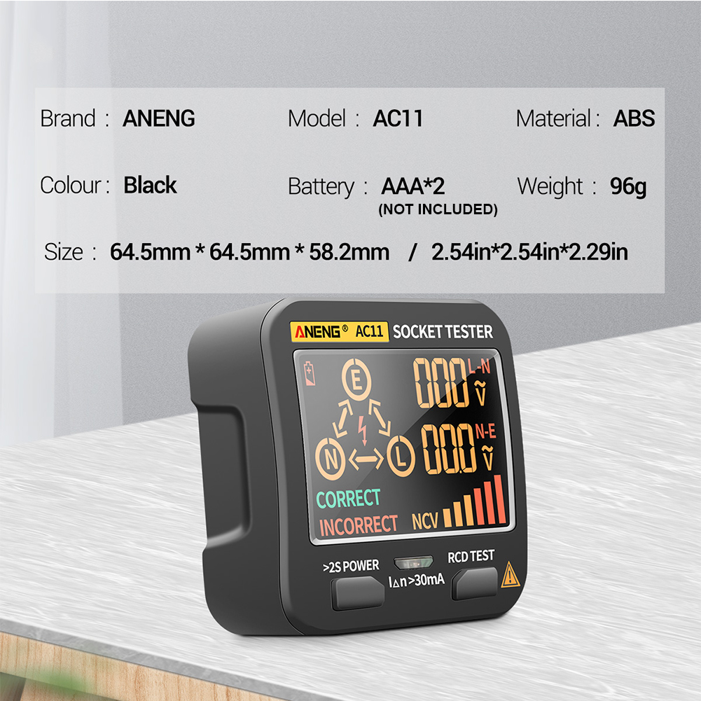 não retroiluminação medidor de fase elétrico mini portátil rcd display lcd