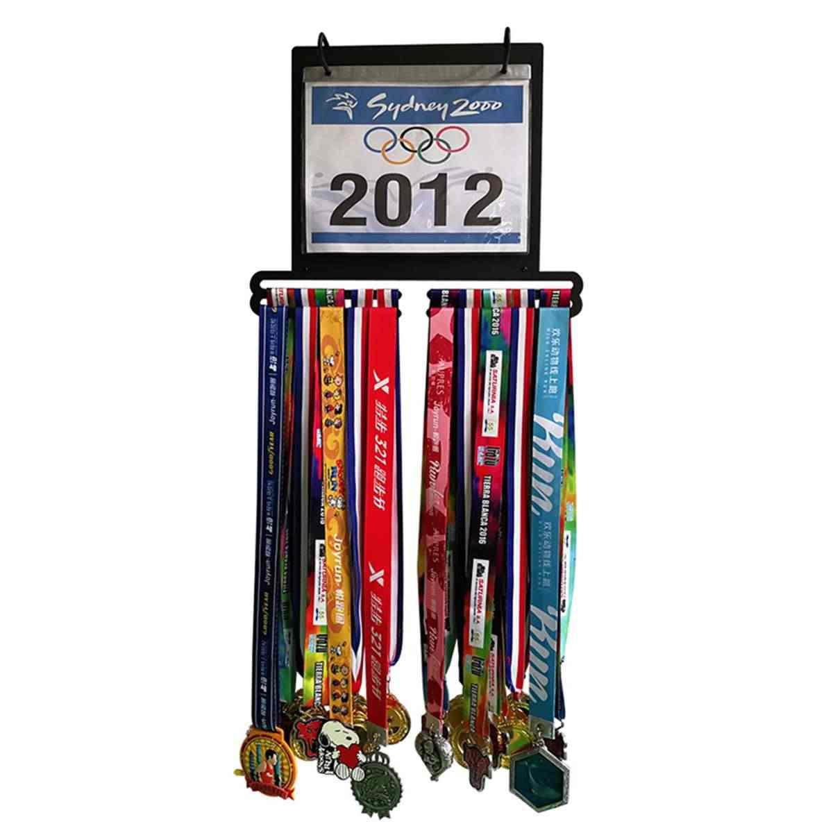 Metallo Acciaio Medaglia Titolare con Display Cremagliera Bib Holder Sport Medaglia Display Gancio Corsa e Jogging Sport Marathon Medaglia Holder Sport