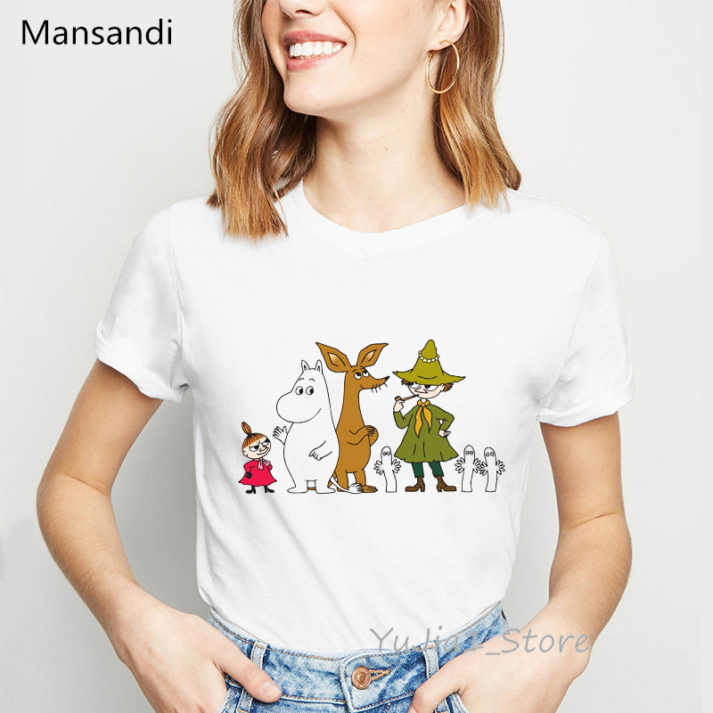 Moomins Day Letter Printed T-shirt Graphic Tees Women Vogue Funny T Shirts Female Harajuku Shirt Tumblr Tops Tee Shirt Femme