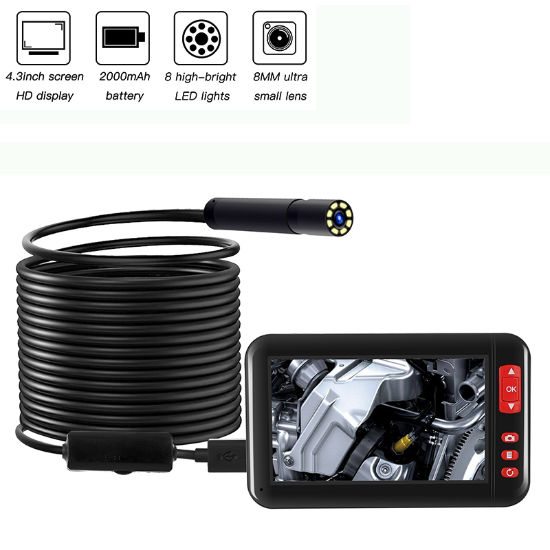 8MM 1080P 4.3Inch Screen HD Display Industrial Endoscope Inspection Camera Portable Borescope 8LED Lights With 2000mAh Battey