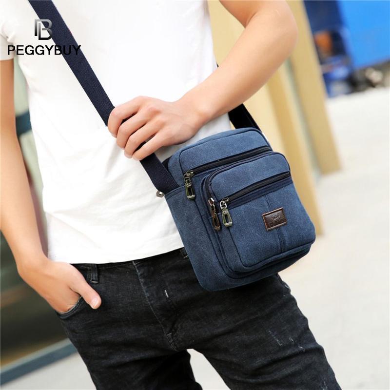 Canvas Crossbody Shoulder Bag Men Zipper Casual Travel Male Messenger Pack Men's Crossbody Bag Packs Phone Pouch Sac A Main