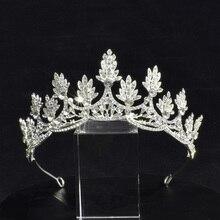 Wedding Hair Tiara and Crowns with Bobby Pins Rhinestone Leaf Shape Crystal Baroque Headband Girl Woman Jewelry
