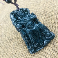 Natural black stone Hand carved black three dimensional large Guan Gong pendant necklace Men and women sweater chain