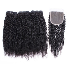 Hair-Extension Closure Human-Hair Kinky Curly Kisshair 3-Bundles Lace Natural-Color Brazilian