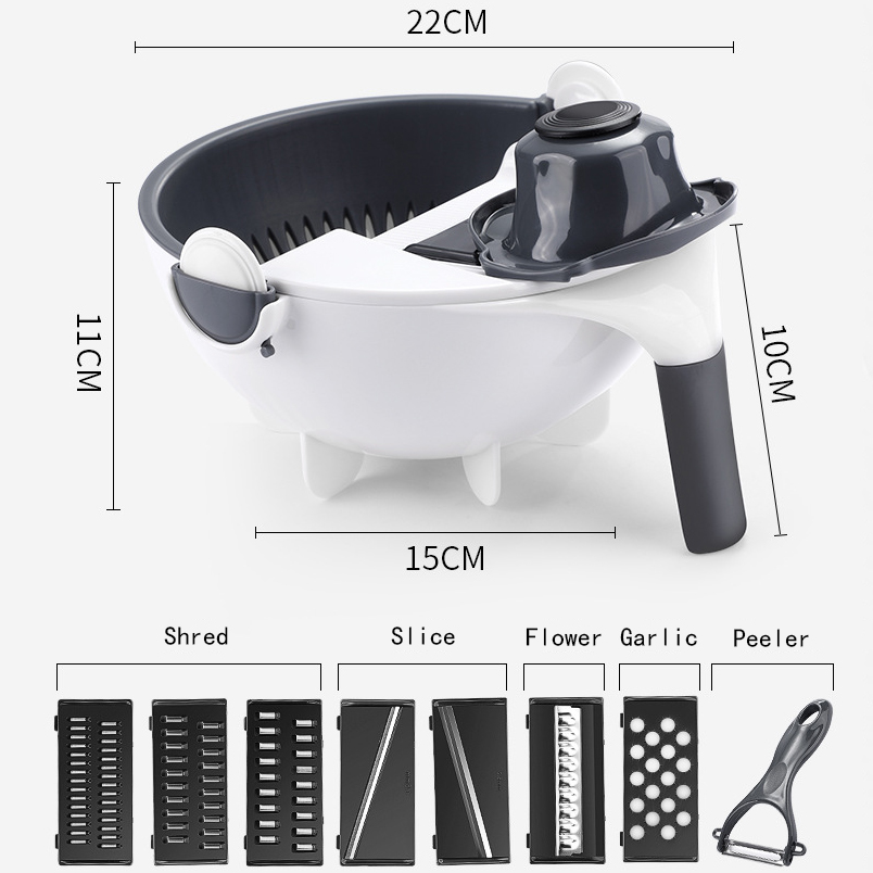 H37b1a1300f764ff08217002d206f618at - Magic Multifunctional Rotate Vegetable Cutter With Drain Basket Kitchen