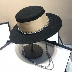 Image 2 - Chapeau de célébrités pour femmes, bonnet fedoras à chaîne métallique, pour dîner formel, panama