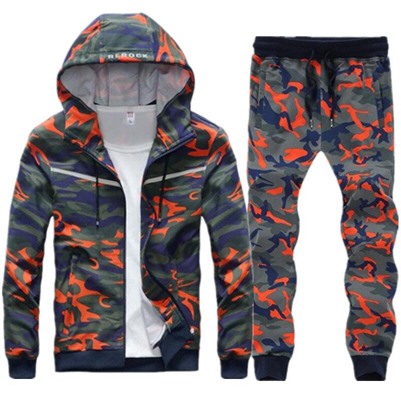 2019 nouveau printemps automne hommes ensemble survêtement marque coton tenue Hoodies Sportswear décontracté imprimer Camouflage militaire uniforme vêtements
