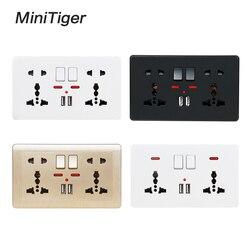 Minitiger 2.1a dupla porta carregador usb led indicador de parede tomada de alimentação dupla universal 5 buraco comutada tomada 146mm * 86mm