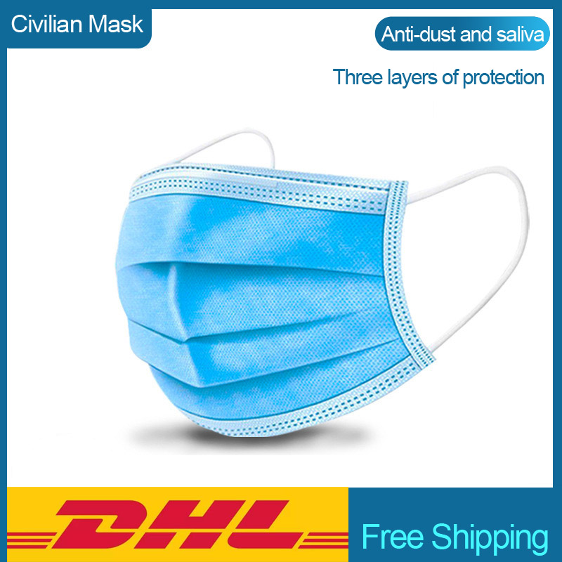 DHL Free Shipping 3 Layer Mask 50pcs Face Mouth Masks Non Woven Disposable Anti-Pollution Meltblown Cloth Masks Earloops Masks