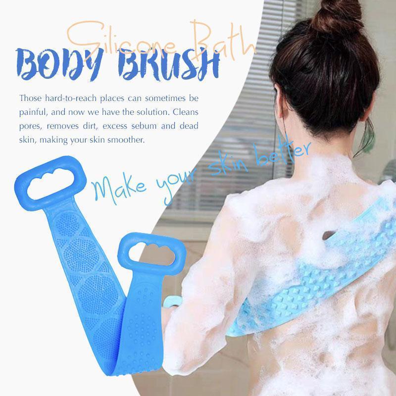 Silicone Bath Body Brush Rubbing Back Exfoliating Body Massage Shower Cleaning Wash Scrub Extended Brushes Bathroom Product