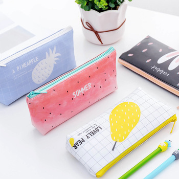 Summer Series PU Pencil Bag, Creative Pencil Bag, Cute Stationery Kawaii Pencil Case Office Supplies 2018 creative kawaii metal flamingos pencil case bag office