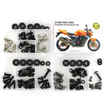 все цены на For Kawasaki Z1000 2003 2004 2005 2006 Motorcycle Complete Full Fairing Bolts Kit Screws Nuts Fairing Clips OEM Style Steel онлайн