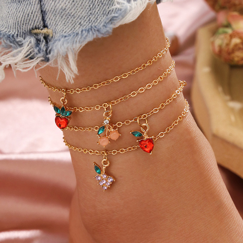 4Pcs/Set Sweet Sweet Crystal Fruit Anklets Set Fashion Apple Strawberry Cherry Grape Gem Gold Chain Anklet Bracelet Jewelry Gift