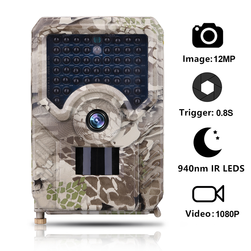 Goujxcy PR200 Trail Camera 49pcs 940nm infrared LED Hunting Camera 12MP Waterproof Wildlife Video Camera Night photo traps scout image