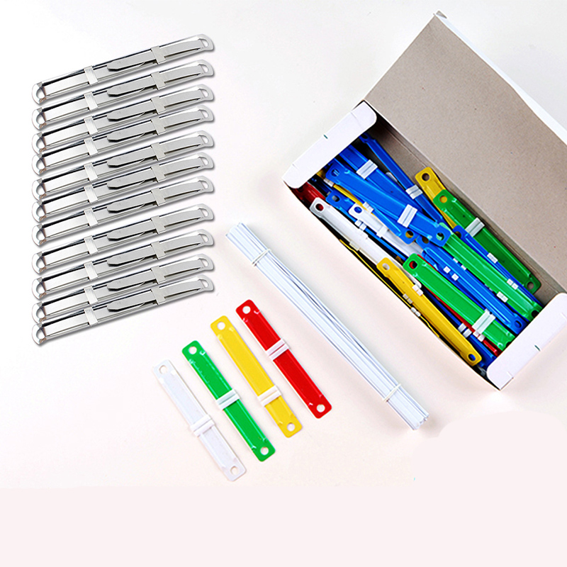 10/50Pcs Document Paper Fasteners Metal Plastic 2 Holes Binding Clip Paper Ring Binder Office Files Fastener Binding Strip 8CM