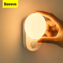 Baseus Night Light Motion Sensor LED Moom Lamp for Wall Bedroom Dorm Room Bedside Stair USB Rechargeable Induction Night Lights