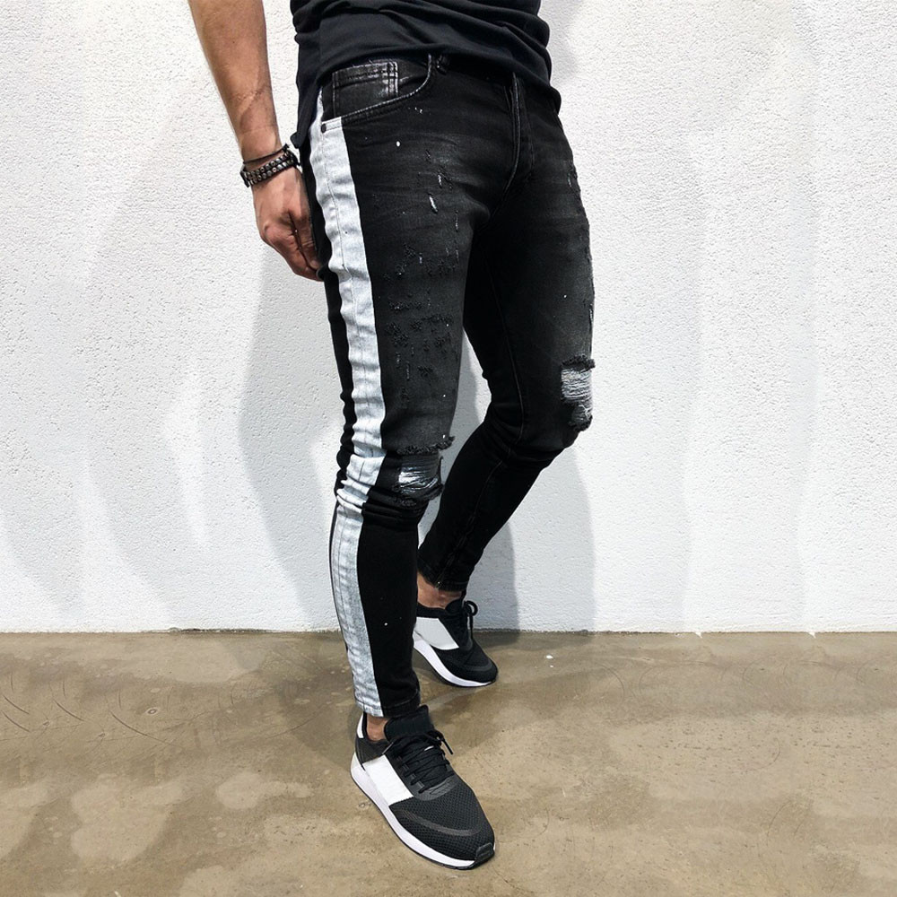 Mens Stretch Denim Pant Distressed Ripped Freyed Slim Fit Printed Jeans Trousers Sweatpant Trouser Long Casual Stylish Pants