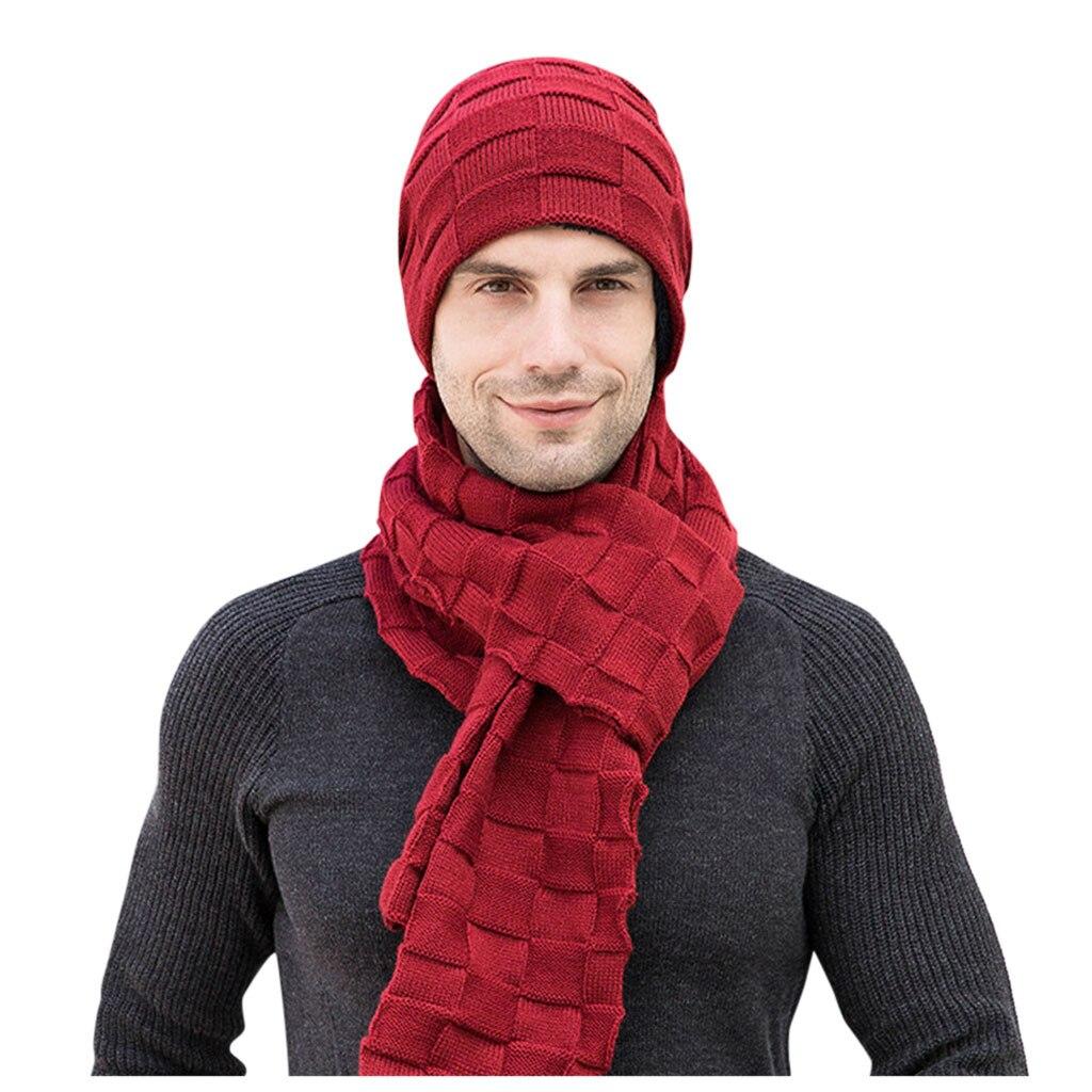 2019 New Men's Winter Gloves Scarf Hat Three-Piece Set European Fashion Male Knit Plus Velvet Warm Hat Caps Skullies Beanies Set