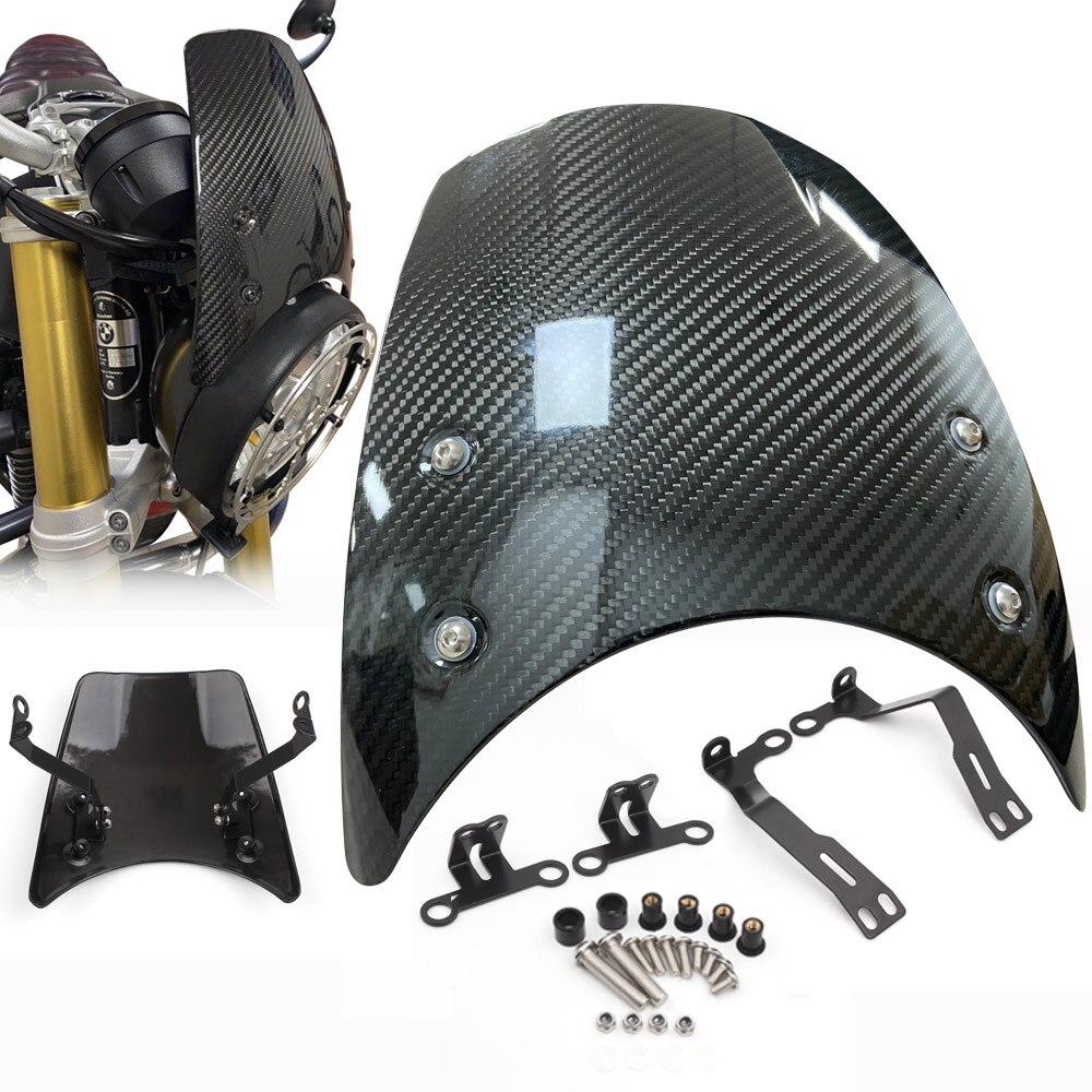 Carbon Fiber Windshield Wind Deflector Windscreen For BMW R NINE T NINET 2014-2020 Headlight fairing R9T R NINET Motorcycle Part