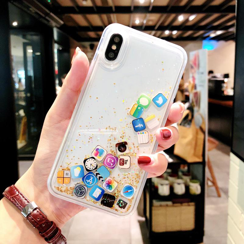 For iPhone X XS MAX XR Quicksand Glitter Case Back Cover Soft Protective Phone Capinha Protector With APP Icon For 6 6s 7 8 Plus image