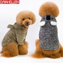 Ropa cálida Clásica de Invierno para perro, ropa para cachorro, perro mascota cálido, suéter de Color sólido, chaqueta, sudaderas con capucha con orejas grandes, moda