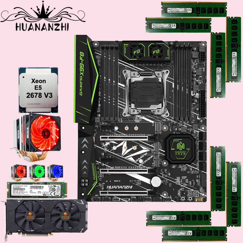 HUANANZHI X99-F8 Motherboard With 512G SSD CPU Intel Xeon 2678 V3 With Cooler RAM 64G(8*8G) HUANANZHI GTX1660TI 6G Video Card