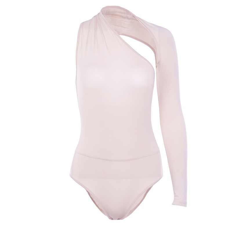 Toplook única manga sexy bodysuit sólido outono inverno moda feminina bodysuit magro apertado playsuits bodycon elástico corpo