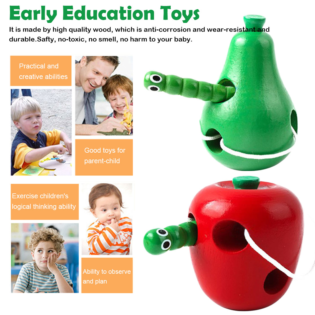 Kids Wooden Toys Mouse Thread Cheese Lacing Threading Fruits Educational Sensory Toys for Children Baby New Year Gift