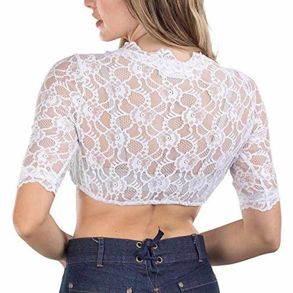 Blusas sueltas de verano para Mujer camisa de moda 2019 blusa de cuello levantado blusa de encaje para Oktoberfest Blusas Mujer