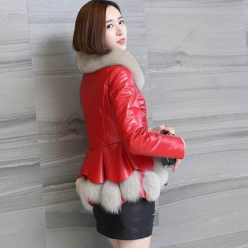 Genuine Winter Leather Jacket Women Down Jacket Sheepskin Coat Real Fox Fur Collar Thick Coats Chaqueta Mujer KJ704 S
