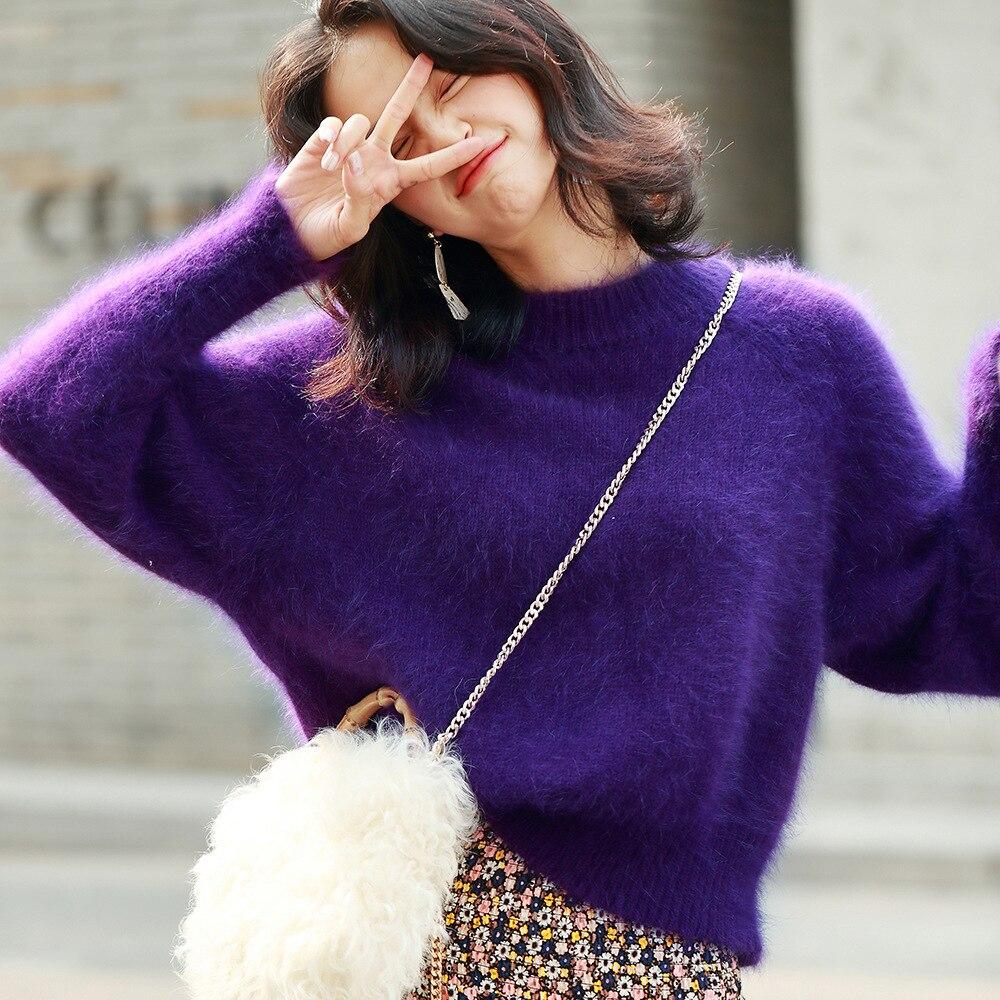 Morihiro 19 automne nouveau vison cachemire Style col rond pull ample élégant violet paresse chandail femmes 3073