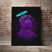 Tupac shakur néon poster lona arte da parede decoração cópias para sala de estar criança quarto decoração casa pintura