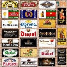 Belgijskie piwo numer tablicy rejestracyjnej tablica znak blaszany ściana Pub sklep garaż w domu dekoracja metalowy samochód plakat 30X15CM DC-1636B
