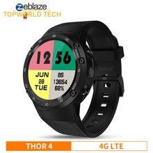 Vlaggenschip Zeblaze Thor 4 4G Lte Gps Smartwatch Android 7.0 MTK6737 Quad Core 1 Gb + 16 Gb 5.0MP 580 Mah Data Oproep Smart Horloge Mannen