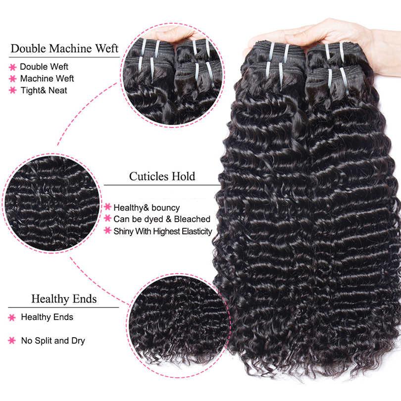 MsHere Haar 3 Bundels Met 13x4 Kant Frontale Sluiting Peruaanse Diepe Krullend Wave Bundel Met Frontale Niet Remy human Hair Extensions