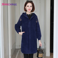 HANZANGL Middle aged mother clothes 2019 winter imitation mink fur coat thick warm cardigan loose hooded embroidered coat
