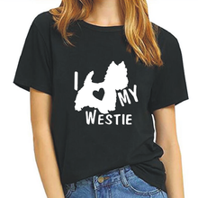 Women's T-Shirt Casual Harajuku Cotton Tees Summer Letter I Love My Westie Terrier Dogs Print Tops Plus Size 0-Neck T-Shirts