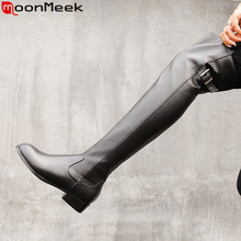 MoonMeek/Новинка года; сапоги из натуральной кожи; Женские Сапоги выше колена с круглым носком на молнии; женские сапоги на среднем каблуке; сезон осень-зима