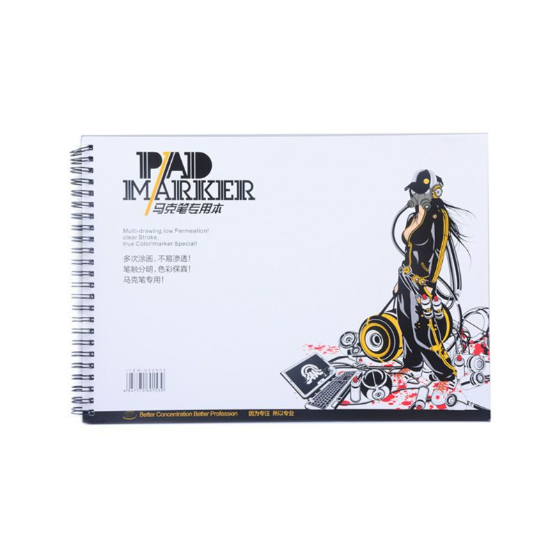 34 Sheet A3/A4/A5 Professional Marker Paper Spiral Sketch Notepad Book Painting M17F