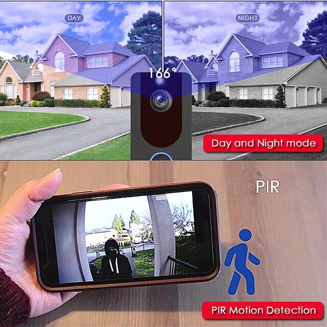 EKEN V7 HD 1080P akıllı WiFi Video kapı zili kamera görsel interkom gece görüş IP kapı zili kablosuz güvenlik kameraları Kapı Zili    -