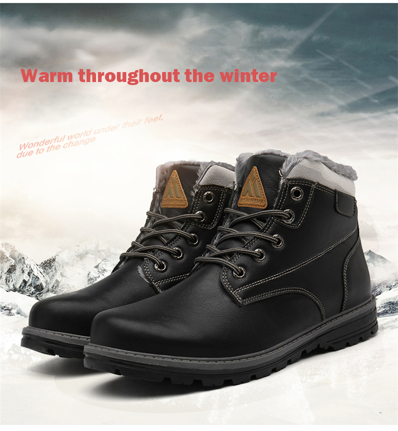US $25.15 35% OFF|High Top Hiking Shoes Men Winter Boots Outdoor Mountain Sneakers Leather Snow Boots Anti Skid Cotton Shoes Plush Sport Shoes in