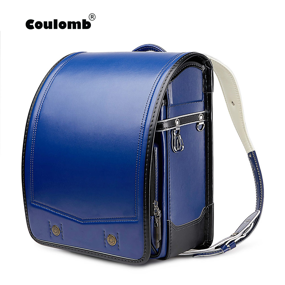 Coulomb Randoseru Kid PU Solid Children's Orthopedic Backpack For Gilrs And Boy Children School Bag Japan Student Backpack