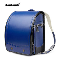 Coulomb Randoseru chico PU mochila ortopédica sólida para niños para niñas y niños mochila escolar japonesa mochila para estudiantes